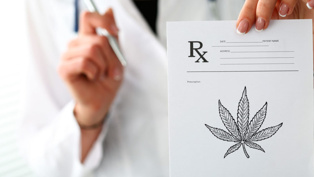 doctor prescribing cannabis on rx pad